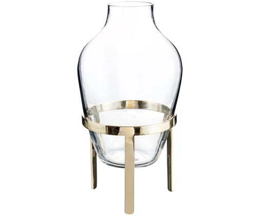 Vase Ladina, Support : laiton, brillant Vase : transparent