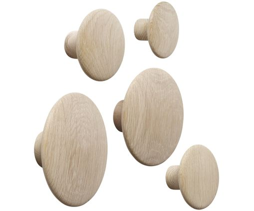 Set ganci da parete The Dots Wood, 5 pz., Quercia