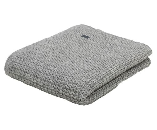 Woll-Plaid Moss Knit, Hellgrau