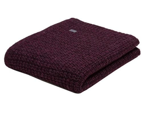Woll-Plaid Moss Knit, Aubergine
