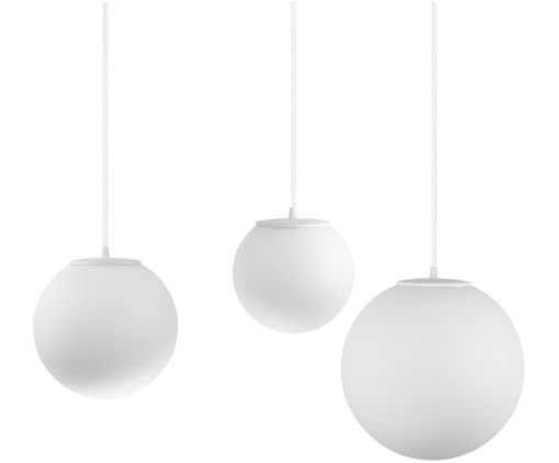 Suspension XL Tsuki Mix, Globe : blanc opale Attache : blanc